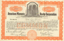 American Womans Realty New York stock certificate Kate-Pier Roemer Broadway star
