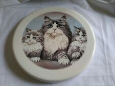 """Mother Cat with Kittens 9.75"""" Ceramic Stove Burner Cover, Or Wall-Hanging"""