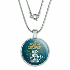 """Does Not Compute B9 Robot Lost In Space 1"""" Pendant w/ Silver Plated Chain"""
