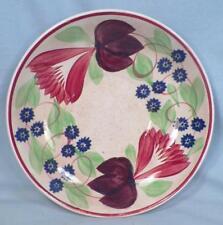 Antique Virginia Spongeware Saucer Only Red Blue Purple Flowers Cut Sponge As Is