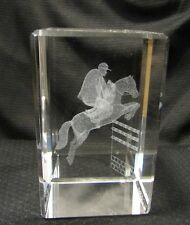 Laser 3D Etched Crystal Ornament Gift + FREE GIFT BOX Show Jumper Equestrian (P)