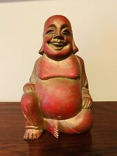 """Vintage Chinese Laughing Buddha Wood Sculpture Red/Gold 8.5"""" Tall Budai"""