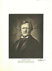 1889 ROGELIO EGUSQUIZA RICHARD WAGNER ETCHING LITHOGRAPH 10 X 13 INCHES