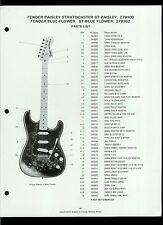 Fender ST-Paisley 279100 ST-Blue Flower 279302 Stratocaster Guitar Dealer Sheet