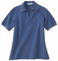 Extreme Women's Short Sleeve 100% Cotton Textured Stripe Polo Shirt. 75010