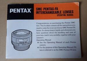 Original Operating Instruction Manual PENTAX-FA INTERCHANGEABLE LENSES, Ephemera