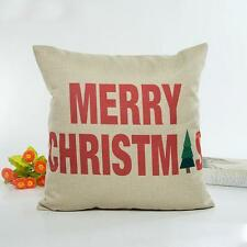 Christmas Lovely Pillow Case Sofa Waist Throw Cushion Cover Home Decor Beige