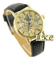 Gold pl Heirloom Mechanical Windup Skeleton Steampunk Black Leather Unisex Watch
