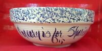 Marshall Pottery Spongeware Blue Band Beehive Popcorn Bowl 12.5 inches **NICE**