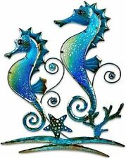 "Pair of Blue Seahorses Glass and Metal Wall Art Decor Blue 22""L x 17"" Wide 1326"