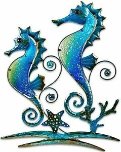 """Pair of Blue Seahorses Glass and Metal Wall Art Decor Blue 22""""L x 17"""" Wide 1326"""