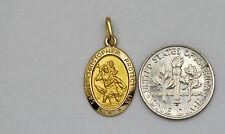 10K solid gold Saint Christopher charm / pendant