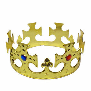 Adult Medieval English King Kings Queen Gold Jeweled Crown Costume Hat Prop