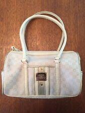 Vintage Liz Claiborne Purse Women's Off White LC Print Mini Duffle Barrel Bag