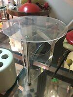 TAVOLINO 60s PERSPEX ROTELLE DESIGN WHEELS COFFE TABLE