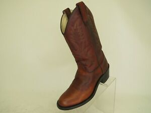 Old West Brown Leather Cowboy Western Boots Youth Size 4.5