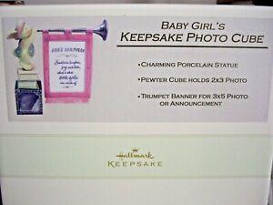 Baby GIRL's Announcement Keepsake Photo Cube & Banner  by Hallmark  NEW