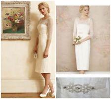 Scoop Neck 3/4 Sleeve Short Wedding Dresses