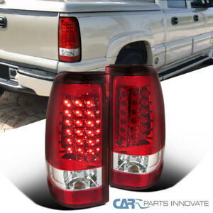 For 03-07 Silverado 04-07 Sierra Pickup LED Red Tail Lights Brake Rear Lamps