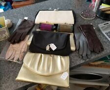 Womens vintage lot of 5 clutches 2 lipstick cases & 4 pr leather gloves