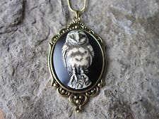 HAND PAINTED SPOOKY BARN OWL CAMEO GOLD TONE NECKLACE - HALLOWEEN, UNIQUE, G1