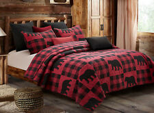 BLACK BEAR RED BUFFALO CHECKS King QUILT SET : LODGE CABIN PLAID COUNTRY