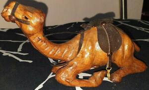 Vintage 1960s  Leather Camel ornament  Approx 22cm long - 12cm high