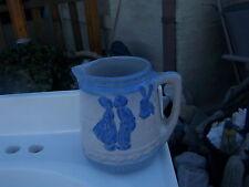 Vintage Blue White Stoneware Pitcher dutch boy and girl