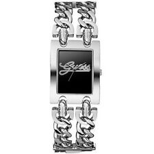 NEW GUESS CRYSTAL ROCKER METAL SS SILVER CHAIN LINK BRACELET LADY WATCH W80048L3
