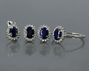925 Solid Silver Oval Natural Sapphire Gemstone Ring Earring Pendant Jewelry Set