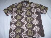 Mens Medium Paradise Style Hawaiian Shirt Muted Colors on Brown Background