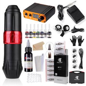 Rotary tattoo machine kit motor pen 8inks Power Supply Cartridges needles EK129