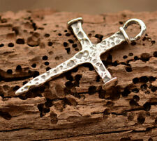 Sterling Silver, R-359 Rustic Nail Cross in