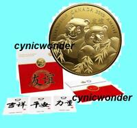2019 Canada Pandas Pure Silver Gold-Plated Coin Golden Gift Friendship