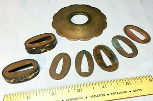 Antique Lot Japanese Copper Ferrules & Etc (Japanese Katana Parts) - Estate Find