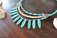 Gorgeous Handmade 3 Layer Blue Turquoise Chunky Spike Bead &Silver Bead Necklace