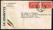 386 MEXICO TO US CENSORED AIR MAIL COVER 1942 HERMOSILLO, SON - PASADENA, CA