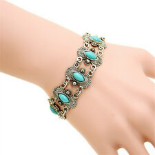 Bohemian Fashion Women Silver Turquoise Bangle Bracelet Wrist Band Jewelry Hi