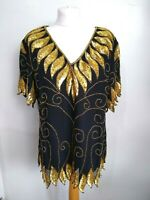 ANNE ASHLEY Size 14-16 1980s BLACK & GOLD Faux Silk Sequin BEADED TOP-Vintage