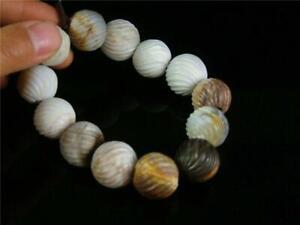 Fine Old Chinese Celadon Nephrite Jade Carved Bracelet Prayer Beads Ruyi Sty.