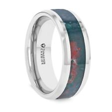 Tungsten Band with Bloodstone Inlay & Polished Finish - 8mm NEW