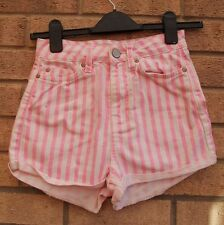 TOPSHOP WHITE PINK STRIPE STRIPED TURN UP DENIM JEANS HOT PANTS SHORTS 8 S