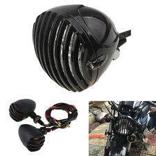Motorcycle Retro Black Grill Headlight and Turn Signal Amber Light For Harley