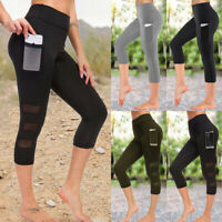 Women Capri Leggings with Pockets Fitness Running Sports Yoga Gym Cropped Pants