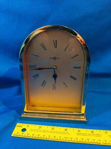 Retro Howard Miller Clock Mid Century Modern Gold VTG Cathedral Japan Movement