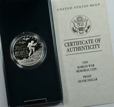 1991-P KOREAN WAR SILVER PROOF $1 OGP & COA