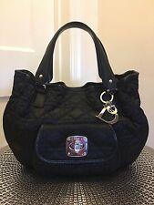 CHRISTIAN DIOR: Black, Nylon & Leather, Cannage Handle Bag