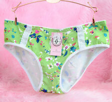 Paris Pink Floral Green Sexy Side Lace Sissy Low Cut Bikini Panties sz XL