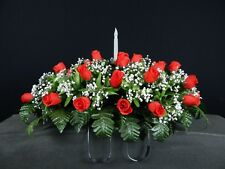 Flickering Candle Solar Light Cemetery Silk Flower Headstone/Tombstone Saddle