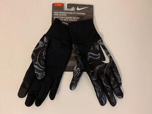 NIKE Women's DRI-FIT Tailwind Run Gloves Size: Medium Black/Grey Printed